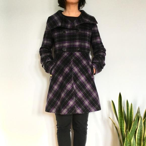Soia & Kyo Jackets & Blazers - Soia & Kyo Purple Plaid Wool Funnel Neck Coat